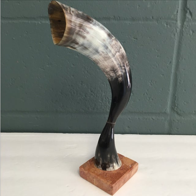 Vintage Cow Horn on Marble Pedestal - Image 4 of 6