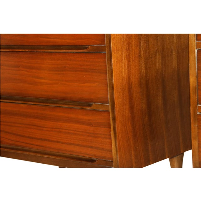 Image of Mid-Century Walnut Chest Nightstands- A Pair