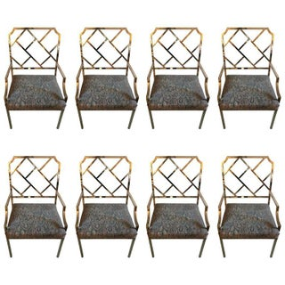 DIA Chrome Chippendale-Style Armchairs - Set of 8