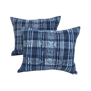 Indigo Blue & White Ikat Pillows - a Pair