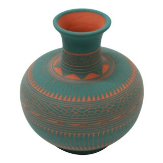 Vintage Turquoise Etched Navajo Pottery Vase by Susie Charlie