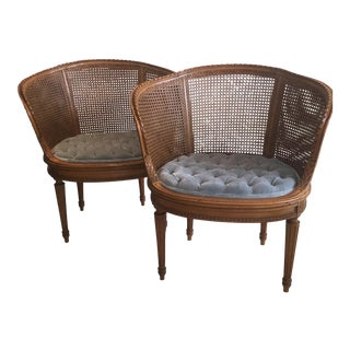 Louis XVI Style Cane Barrel Chairs- A Pair
