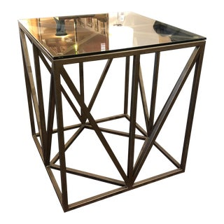 Bronze Finish Steel & Glass Side Table