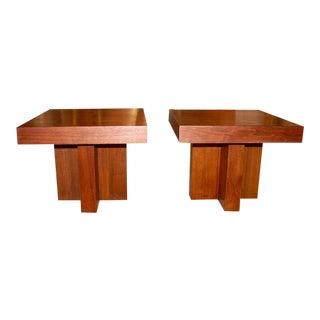 Milo Baughman Cruciform Occasional Tables - a Pair