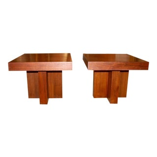 Milo Baughman Cruciform Occasional Tables - a Pair