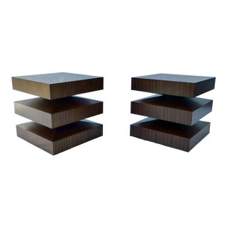 Danish Modern Cubist Stacked Rosewood End Tables- A Pair