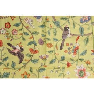 Vintage Porcelain Yellow Glazed Chintz Fabric W/ Multi-Colour Floral Pattern 2