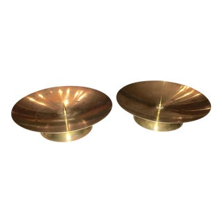 Mid-Century Brass Candle Holders- A Pair