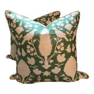 Schumacher Chenonceau Pillows in Aloe - A Pair