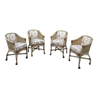 Vintage McGuire Rattan Rolling Game Chairs - Set of 4