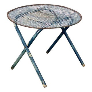 Mid-Century Blue Wire Mesh Folding Table