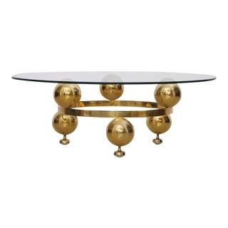 Round Brass Sputnik Coffee Table with Glass Top
