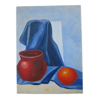 Still Life With Orange & Vase Painting