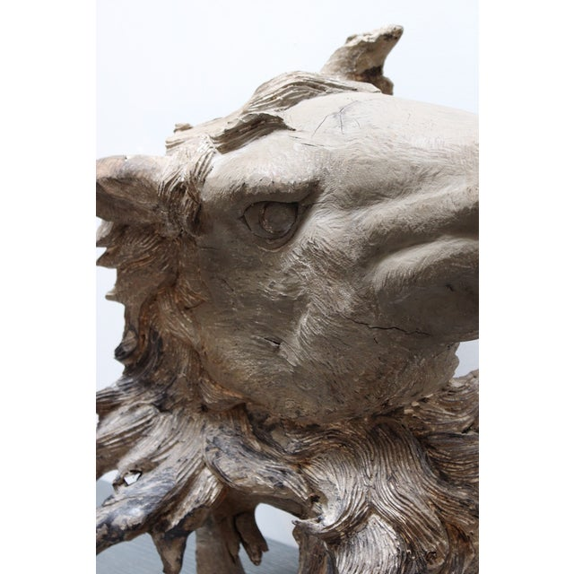 Hand Carved Bust of Horse Head in Wood - Image 9 of 11
