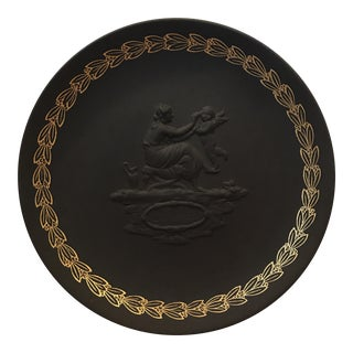 "Wedgwood Black Basalt ""Mother"" Gilded Plate, 1971"