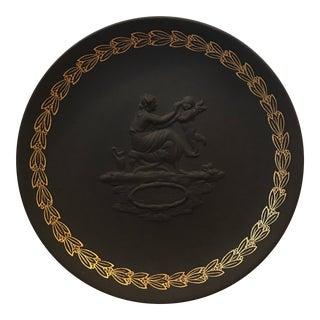 """Wedgwood Black Basalt """"Mother"""" Gilded Plate, 1971"""