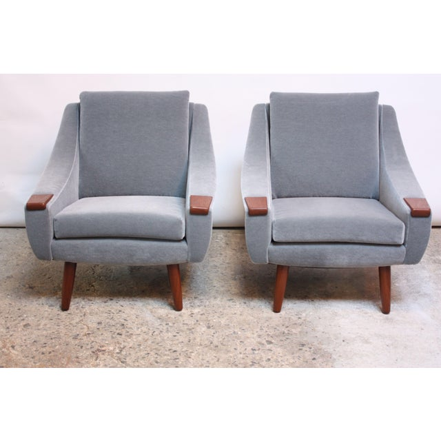 Pair of Danish Modern Teak and Mohair Lounge Chairs - Image 11 of 11