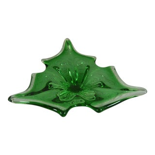 Transparent & Green Holly Leaf Murano Christmas Bowl