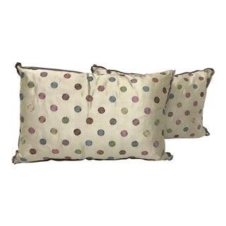 Rectangular Vintage Jane Churchill Silk Pillows - A Pair