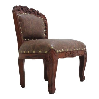 Antique Reproduction Hand Carved Child's Arm Chair