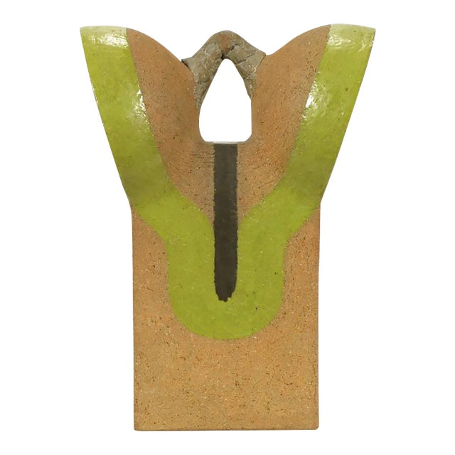 Tomiya Matsuda Chartreuse Glaze and Terra Cotta Abstract Sculpture - Image 1 of 6