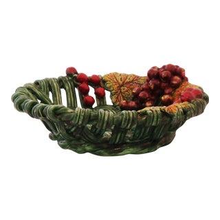 Vintage Ceramic Basket Motif Dish
