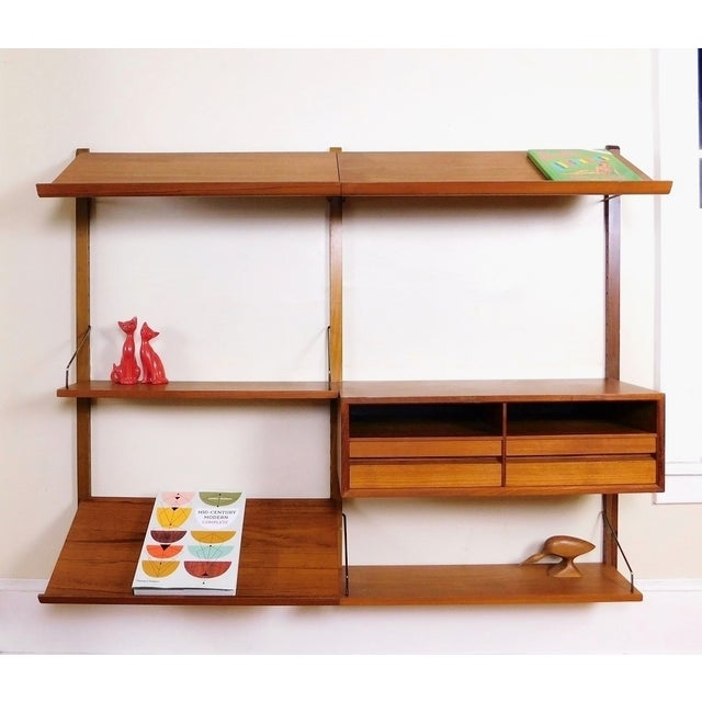 Danish Modern Teak Floating Adjustable Desk Wall Unit Bookcase by Carlo Jensen for Hundevad & Co - Image 2 of 9