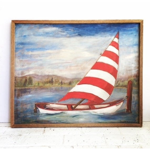 Vintage Mid-Century Sailboat Painting - Image 2 of 4