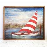 Image of Vintage Mid-Century Sailboat Painting