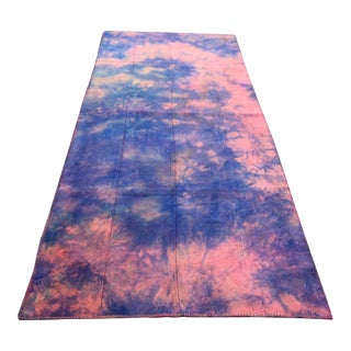 Vintage Turkish Tie Dye Oushak Curtain Kilim Rug- 3′9″ × 9′2″