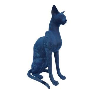 Vintage Solid Bronze Cat Statue / Sculpture .