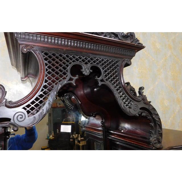 antique edwardian carved mahogany etagere vitrine cabinet c1900 chairish. Black Bedroom Furniture Sets. Home Design Ideas