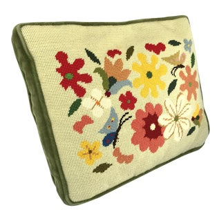 Vintage Folk Art Needlepoint Boxed Pillow Flowers & Butterflies