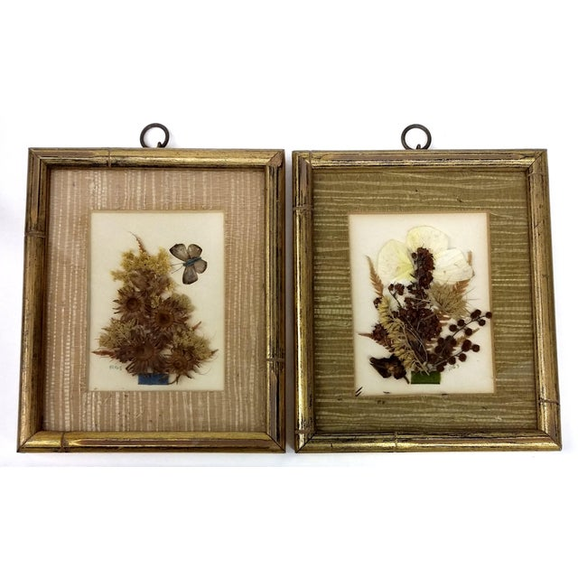 Image of Mid-Century Botanical Flower Art Pieces - A Pair