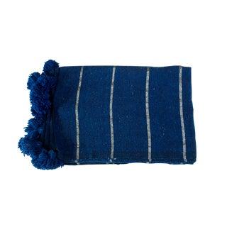 Moroccan Silver on Blue Pom Pom Blanket