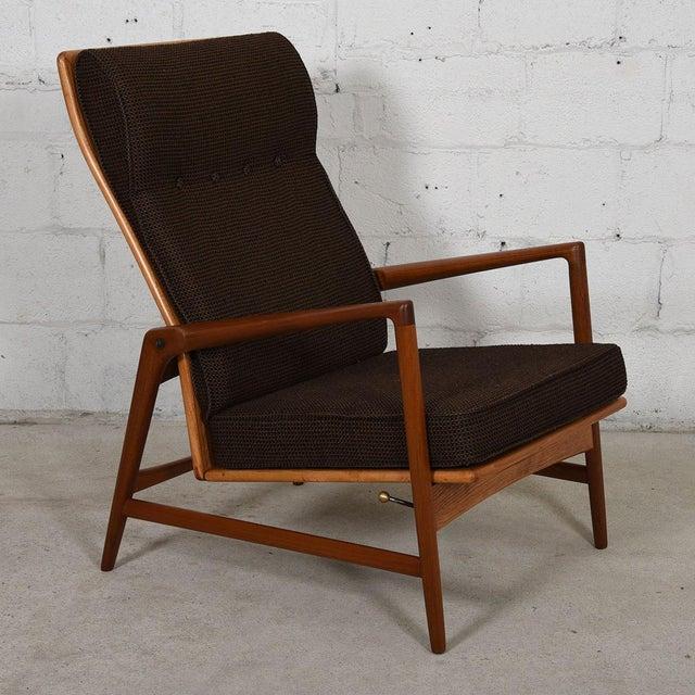 Kofod Larsen Danish Modern Teak Adjustable Lounge Chair with Ottoman - Image 8 of 10
