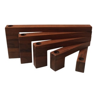 Mid-Century Modern Teak Folding Candle Holder