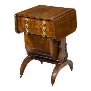 Classical Mahogany Worktable with Carved Lyre Supports