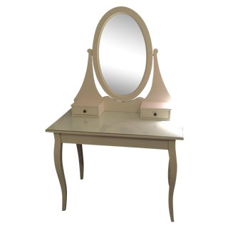 White Vanity with Oval Mirror