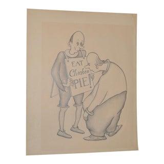 """1940s Vintage """"Eat CHICKEN Pie!"""" Original Illustration by Edward Hagedorn"""