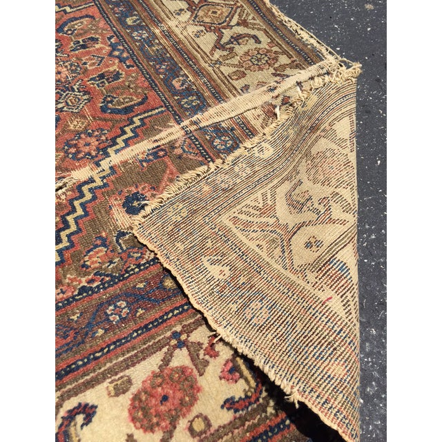 Antique Distressed Persian Rug / Wall Hanging - 4′4″ × 6′2″ - Image 8 of 10