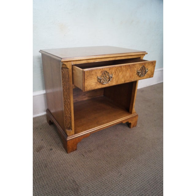 Image of Baker Burl Walnut Chippendale Style Nightstands - A Pair