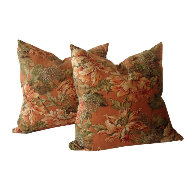 Newport Orange Floral Pillows - S/2 Chairish