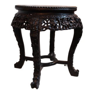 Indian Rosewood & Marble Tabouret