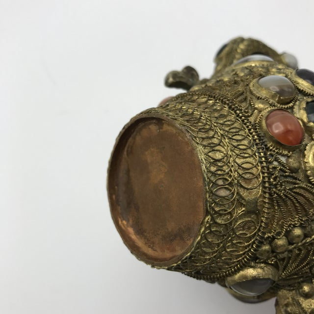 Antique 19th Century Tibetan Copper and Gold Filigree Flagon With Polished Agate Gemstones - Image 6 of 10
