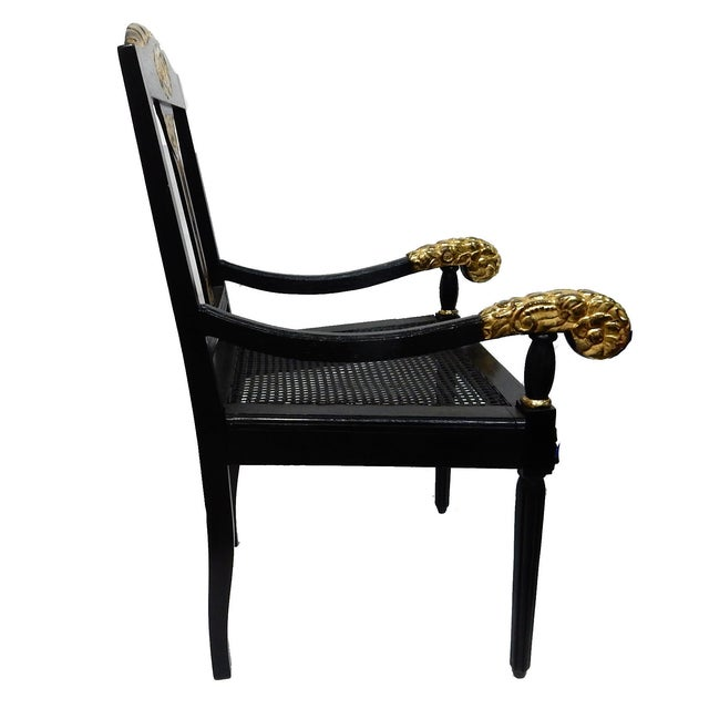 Image of Antique Black & Gilt Wood Cane Seat Chair