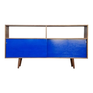 Walnut Credenza With Royal Blue Doors