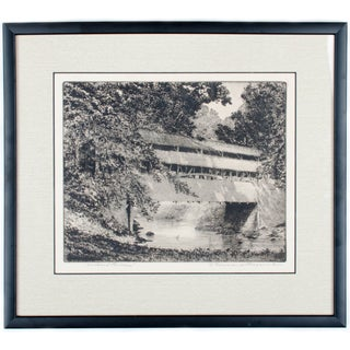Covered Bridge Etching by F. Townsend Morgan