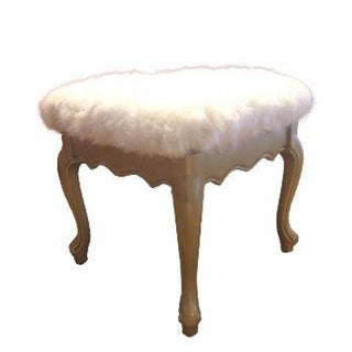 Faux Fur French Provincial Ottoman