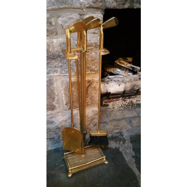 Brass Golf Motif Fireplace Tool Set - Image 3 of 7